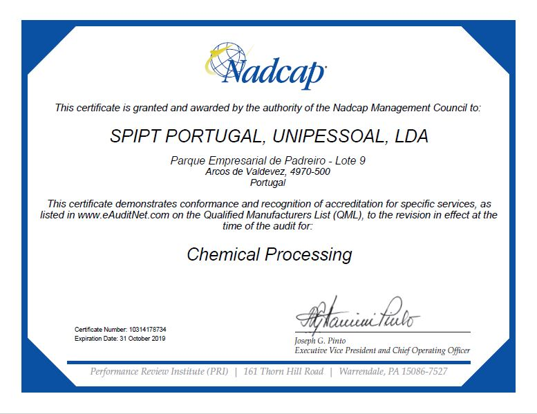 Certificat NADCAP SPI SUD