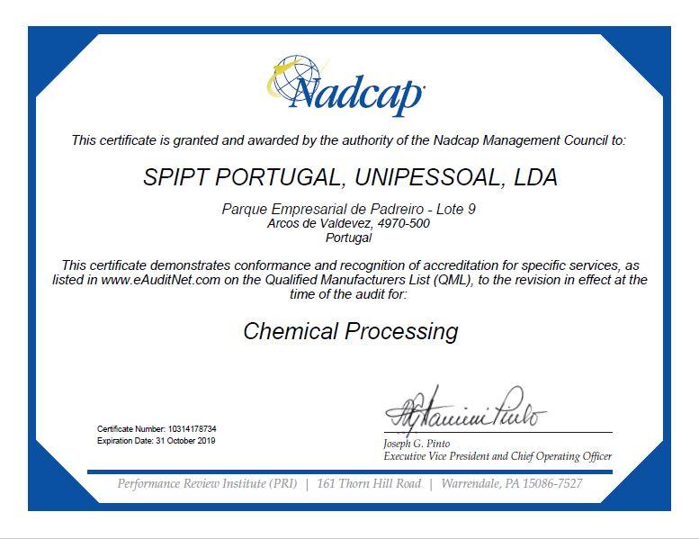 Certificat NADCAP SPI PORTUGAL